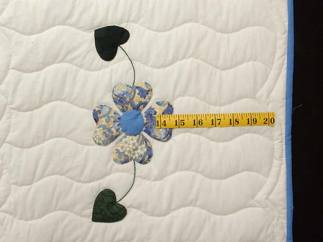 Blue Gold and Green Heart Bouquet Quilt Photo 7