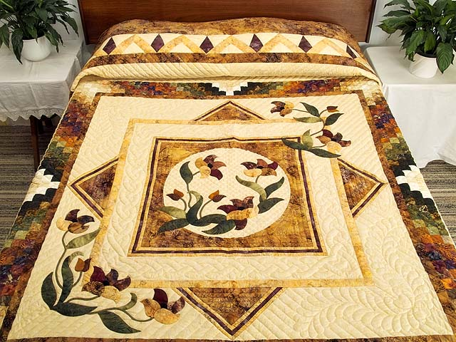 Gold Plum and Green Rainbow Reflections Quilt Photo 1