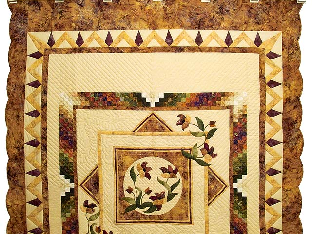 Gold Plum and Green Rainbow Reflections Quilt Photo 2