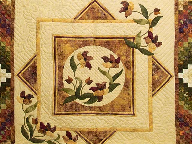 Gold Plum and Green Rainbow Reflections Quilt Photo 3