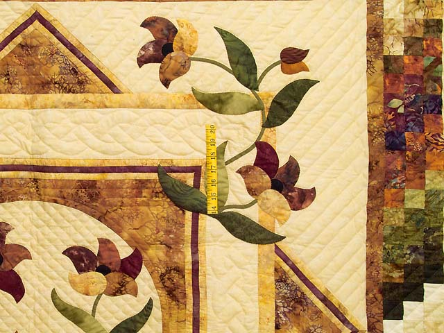 Gold Plum and Green Rainbow Reflections Quilt Photo 4