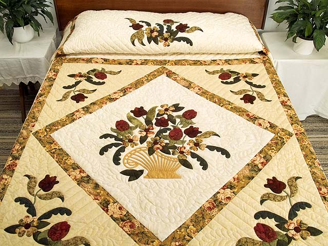 Gold Rose and Burgundy Spring Basket Quilt Photo 1