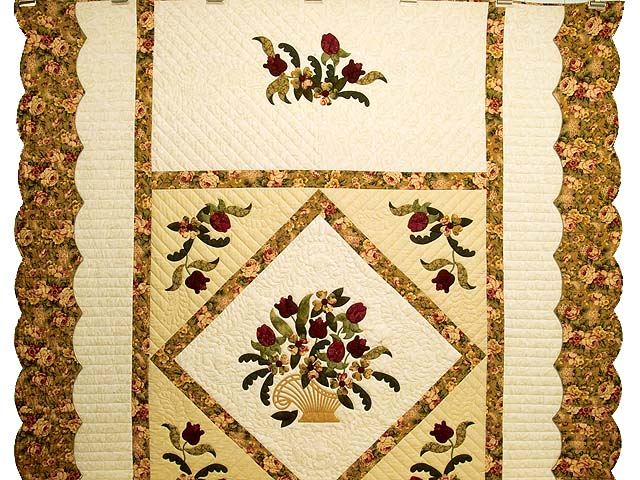 Gold Rose and Burgundy Spring Basket Quilt Photo 2