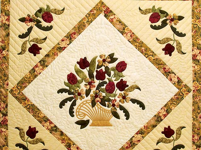 Gold Rose and Burgundy Spring Basket Quilt Photo 3
