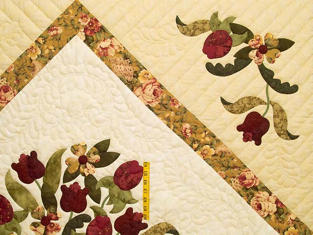 Gold Rose and Burgundy Spring Basket Quilt Photo 4