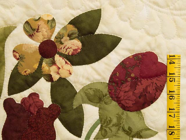 Gold Rose and Burgundy Spring Basket Quilt Photo 5