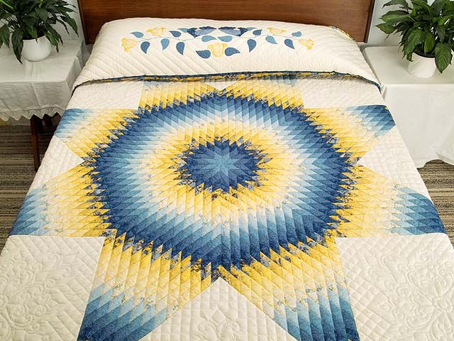 King Blue and Yellow Lone Star Country Bride Quilt Photo 1