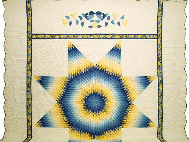 King Blue and Yellow Lone Star Country Bride Quilt Photo 2