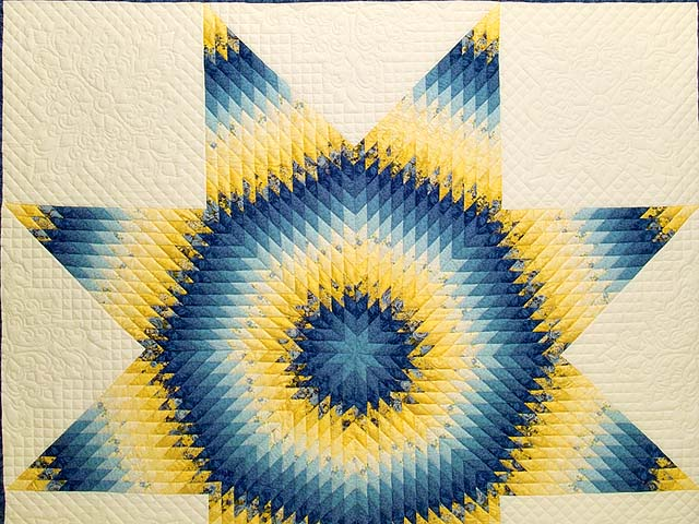 King Blue and Yellow Lone Star Country Bride Quilt Photo 3