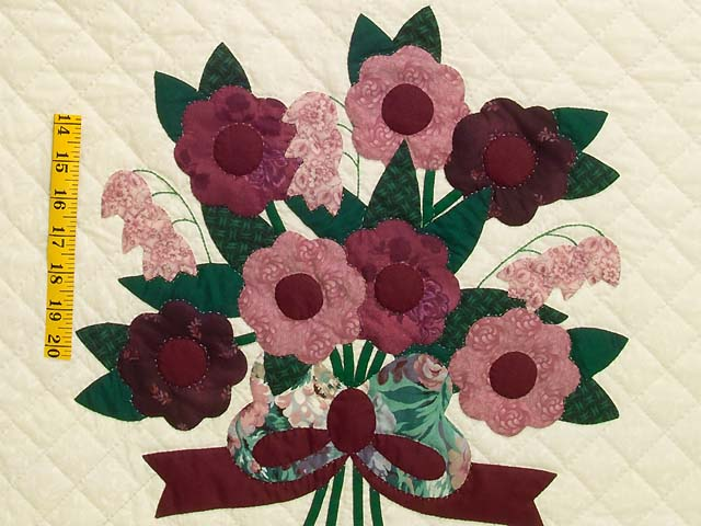 Raspberry Burgundy and Green Rose of Sharon Quilt Photo 5