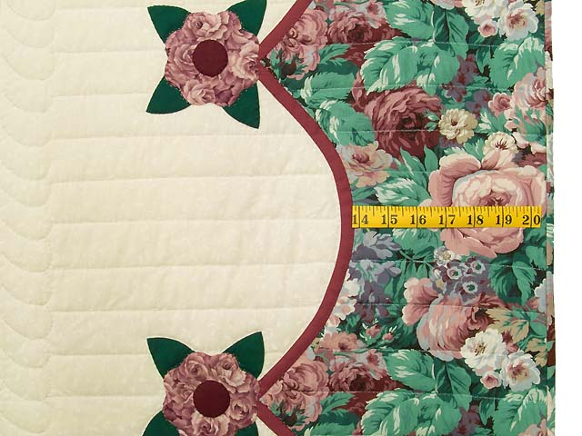 Raspberry Burgundy and Green Rose of Sharon Quilt Photo 7