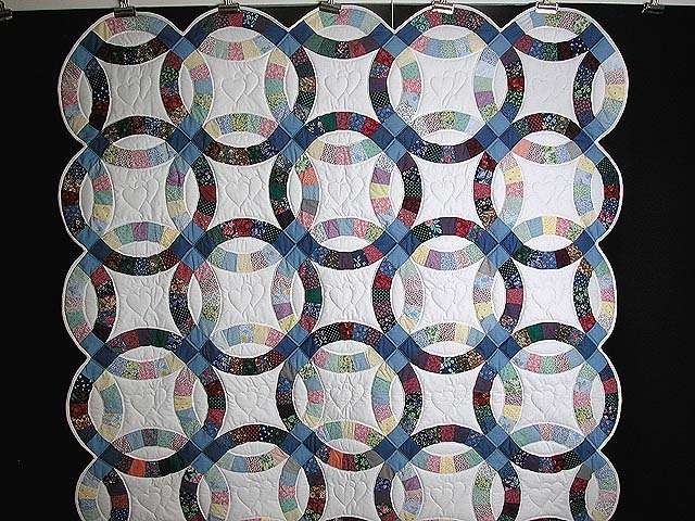 Twin Size Multicolor Double Wedding Ring Quilt Photo 2