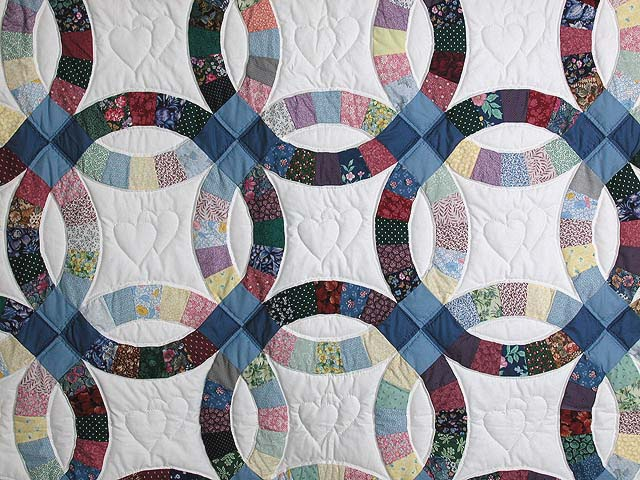 Twin Size Multicolor Double Wedding Ring Quilt Photo 3