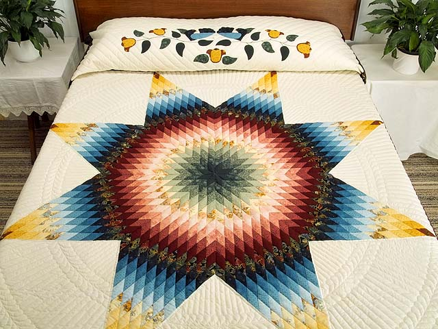 Blue Rose and Yellow Lone Star Country Bride Quilt Photo 1