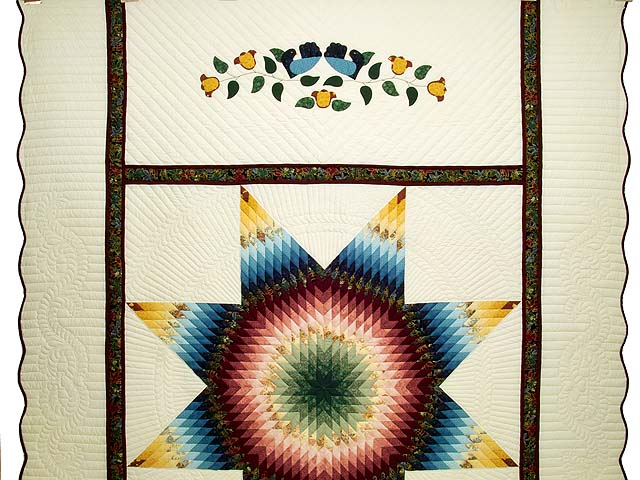Blue Rose and Yellow Lone Star Country Bride Quilt Photo 2
