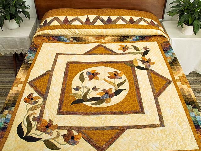 Gold and Plum Rainbow Reflections Quilt Photo 1