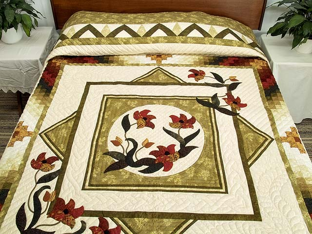 King Green Burgundy and Gold Rainbow Reflections Quilt Photo 1