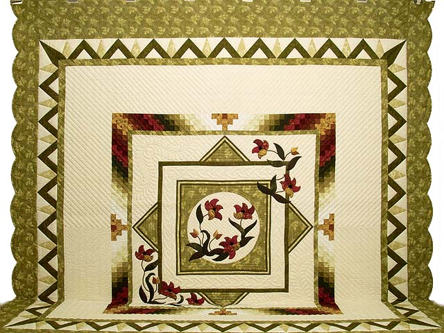 King Green Burgundy and Gold Rainbow Reflections Quilt Photo 2