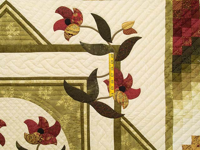 King Green Burgundy and Gold Rainbow Reflections Quilt Photo 4