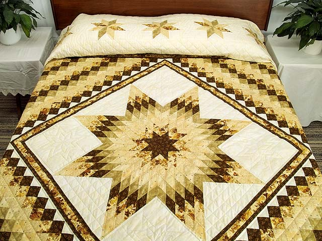 King Gold Brown and Sage Lone Star Trip Quilt Photo 1