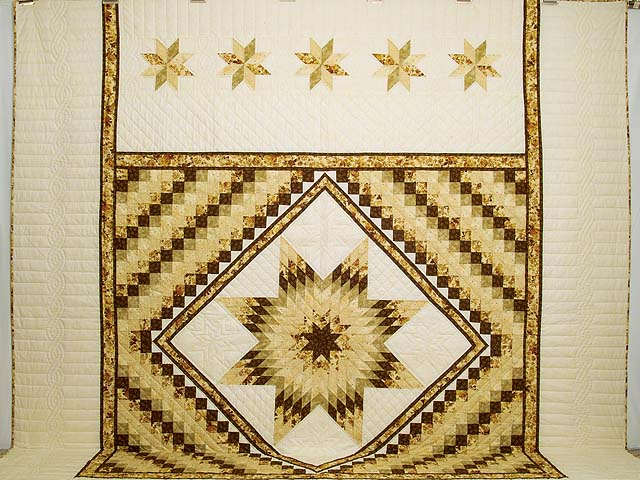 King Gold Brown and Sage Lone Star Trip Quilt Photo 2