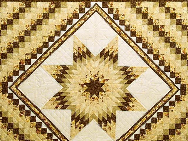 King Gold Brown and Sage Lone Star Trip Quilt Photo 3