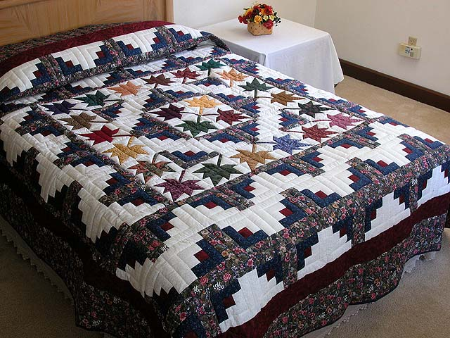 Autumn Splendor Log Cabin Quilt Outstanding Ably Made