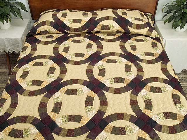 Earth Tones Double Wedding Ring Quilt Photo 1