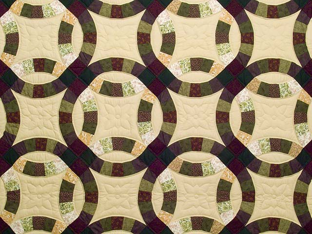 Earth Tones Double Wedding Ring Quilt Photo 3