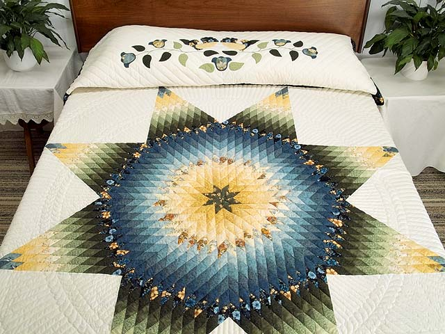 Blue Green and Yellow Lone Star Country Bride Quilt Photo 1