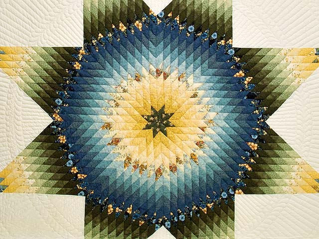 Blue Green and Yellow Lone Star Country Bride Quilt Photo 3