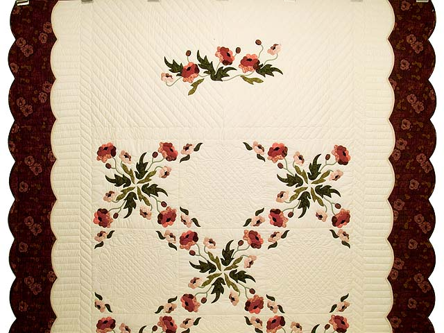 Dark Rose and Green Poppy Fields Quilt Photo 2