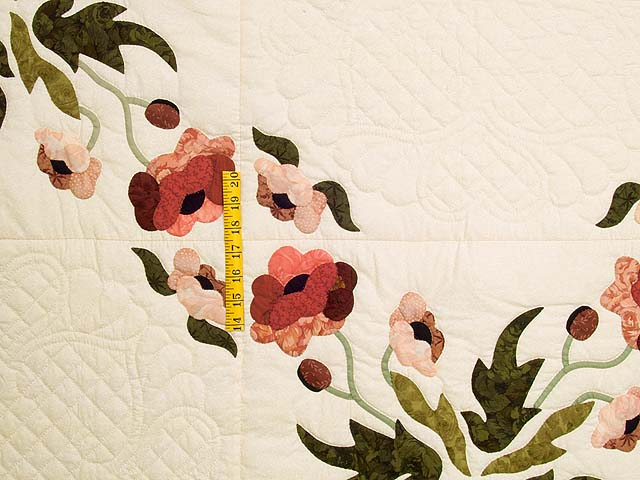 Dark Rose and Green Poppy Fields Quilt Photo 4