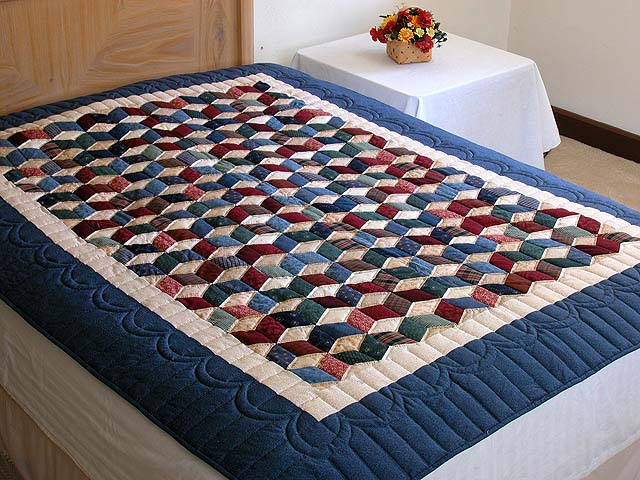 Twin-size Blue and Multi Tumbling Block Quilt Photo 1