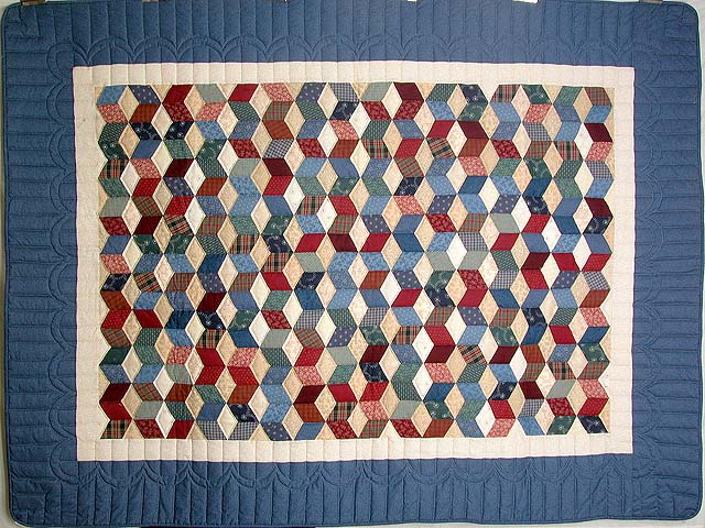 Twin-size Blue and Multi Tumbling Block Quilt Photo 2