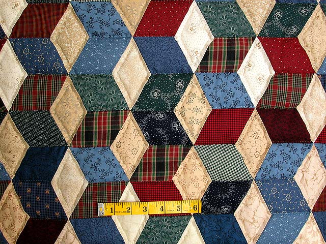Twin-size Blue and Multi Tumbling Block Quilt Photo 4