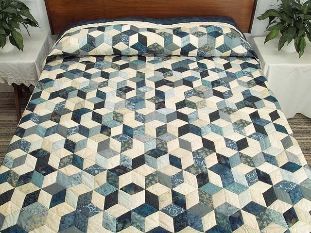 Blue Navy and Cream Tumbling Block Quilt Photo 1