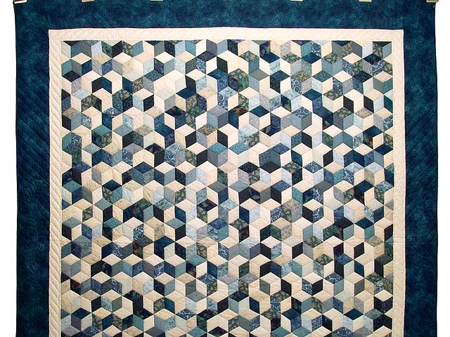 Blue Navy and Cream Tumbling Block Quilt Photo 2