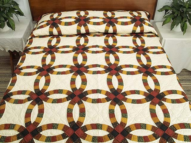 Extra Fine Earth Tones Double Wedding Ring Quilt Photo 1