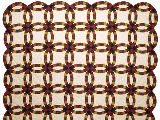 Extra Fine Earth Tones Double Wedding Ring Quilt Photo 2
