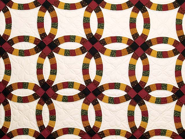 Extra Fine Earth Tones Double Wedding Ring Quilt Photo 3