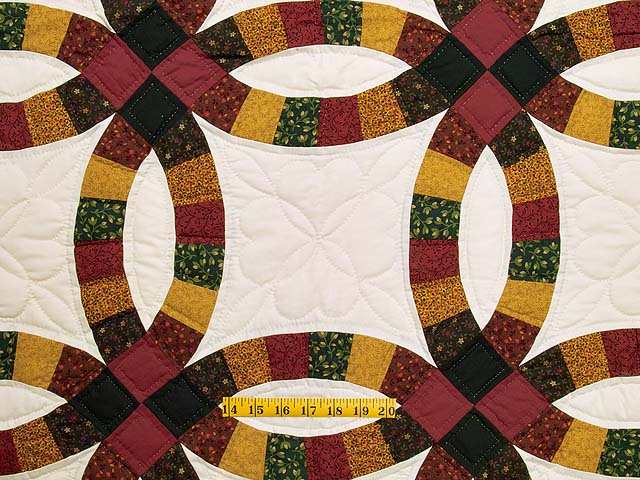 Extra Fine Earth Tones Double Wedding Ring Quilt Photo 4