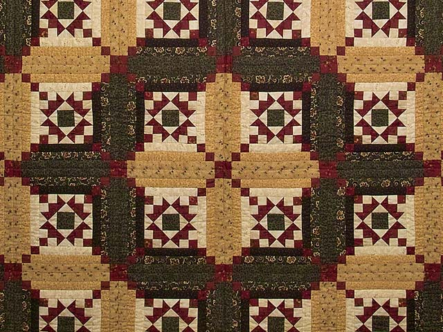 Moss Burgundy and Wheat Stars in the Cabin Quilt Photo 3