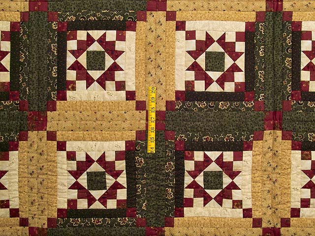 Moss Burgundy and Wheat Stars in the Cabin Quilt Photo 4