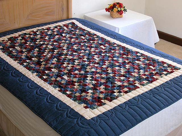 Twin-size Blue and Multi Postage Stamp Quilt Photo 1