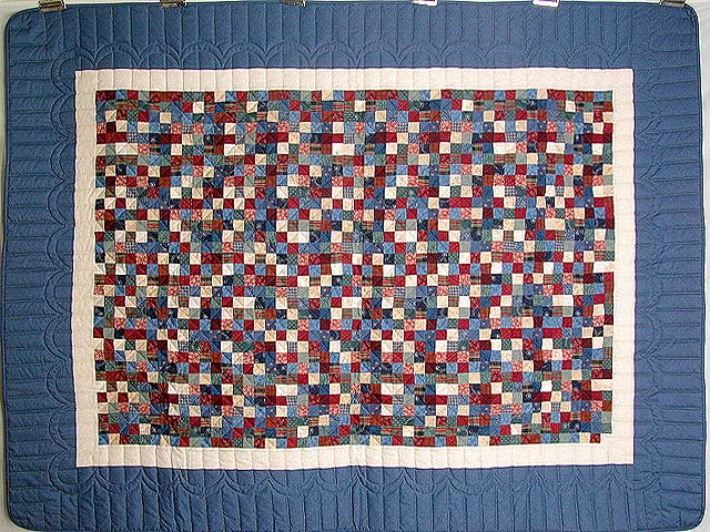 Twin-size Blue and Multi Postage Stamp Quilt Photo 2
