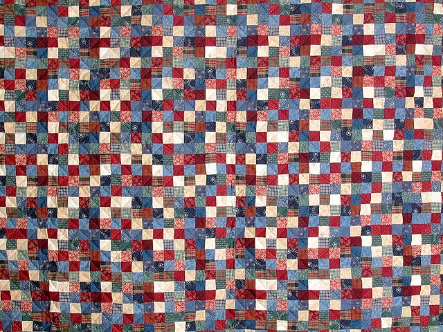 Twin-size Blue and Multi Postage Stamp Quilt Photo 3