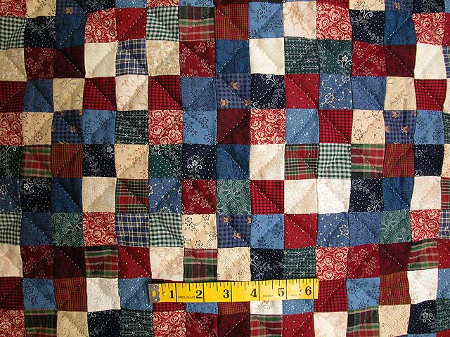 Twin-size Blue and Multi Postage Stamp Quilt Photo 4