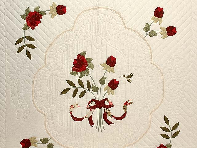 Red Roses on Ivory Lancaster Treasures Quilt Photo 3