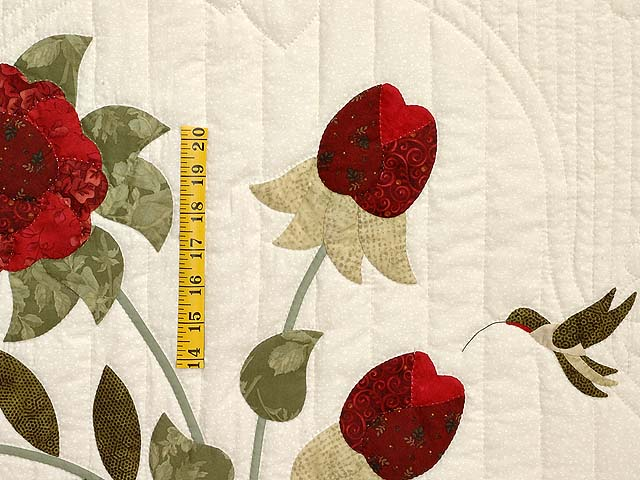 Red Roses on Ivory Lancaster Treasures Quilt Photo 4
